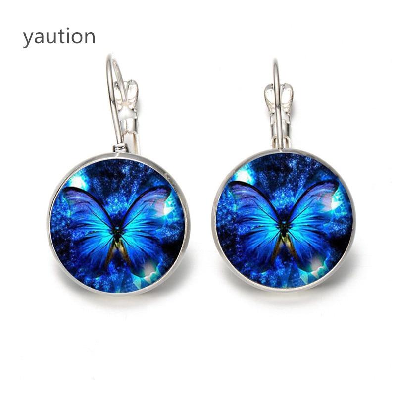 Pendientes de mariposa azul mariposa verde cristal accesorios de joyería para oreja bucle cabujón de cristal de cúpula pendientes