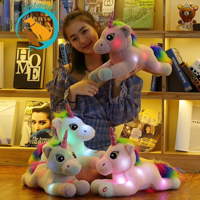 1pc Lovely Plush Light Up  Unicorn Stuffed Animals Led Plush Toys Kawaii  Soft Toys for Kids Christmas Lights Toy  50cm