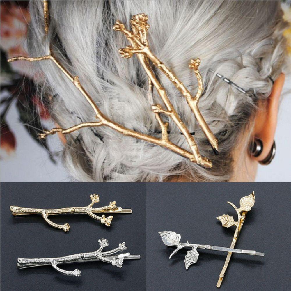 Nuevo de moda de oro/color plata broches Retro Metal ramas de árbol horquillas para mujeres niñas Navidad regalos accesorios para el pelo