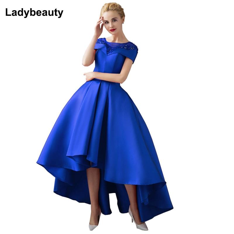 Ladybeauty قصيرة حفلة موسيقية اللباس الدانتيل قصيرة الأكمام التطريز مساء اللباس 2018 عالية منخفضة الأم الزفاف حزب ثوب ماكسي اللباس