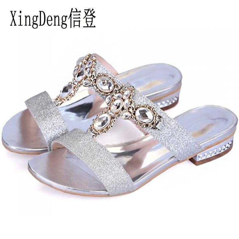 XingDeng Plus Size 34-43 Women Square Heel Round Toe Sandals Lady Sequin Rhinestone Summer Slipper Girl Fashion  Slipper