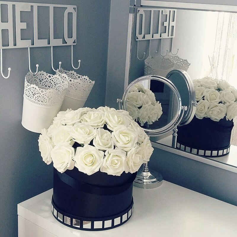 21 Colors 10 Heads Artificial PE Foam Rose Flowers Wedding Bride Bouquet  DIY Home Decor Scrapbooking Fake Flower Supplies
