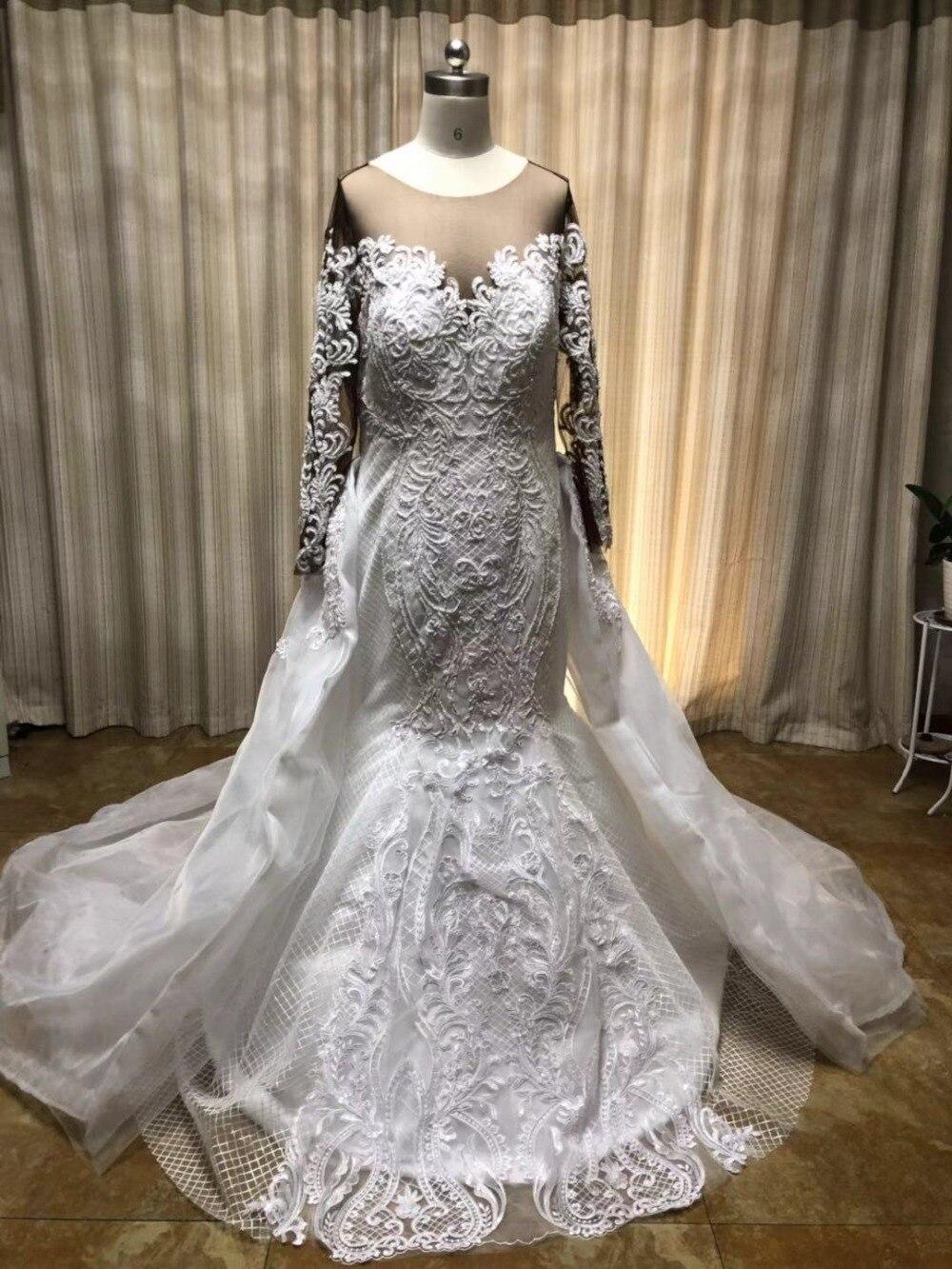 2019 Lace Long Sleeve African Wedding dresses Two piece Casual plus size  Detachable Train Robe de marie