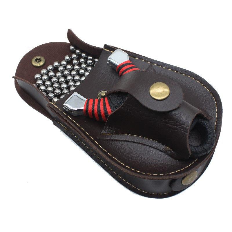 Paquete profesional de tirachinas de bolas de acero para deportes al aire libre, bolso de tirachinas de cuero para la espalda a través del cinturón para la caza
