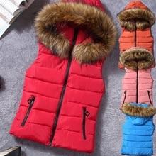 ZOGAA Women Winter Hooded Jacket Ladies Sleeveless Fur Collar Cotton Jacket Vest Female Casual Solid Color Zipper Coat 2019 New