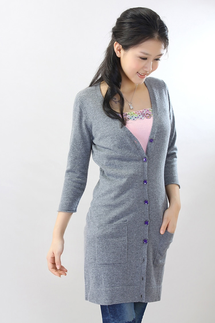100 Cashmere sweater Women's long Cardigan with Pockets V neck Purple Natural fabric High Quality Stock clearance Free shipping enlarge