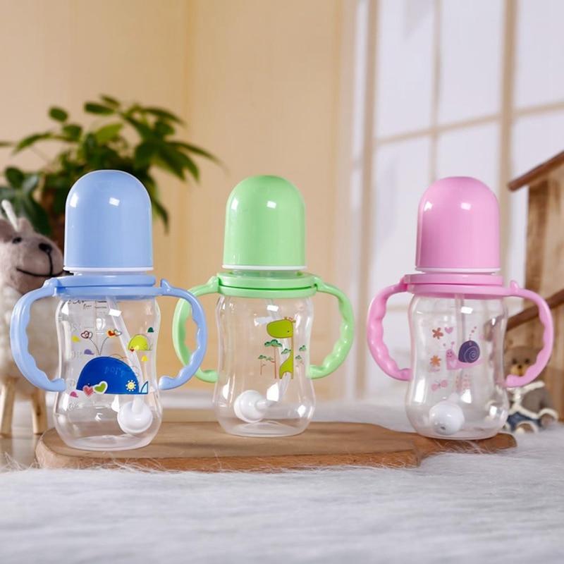 Biberón con asa para niños, taza para niños, biberón para alimentación de bebé de 150ml, biberón, taza para niños, comedero para leche, agua, Color al azar