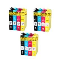12 piezas T1811 T1812 T1813 T1814 cartuchos de tinta para EPSON XP212 XP215 XP225 XP312 XP315 XP412 XP415 XP402 XP405 XP302 impresora T1811