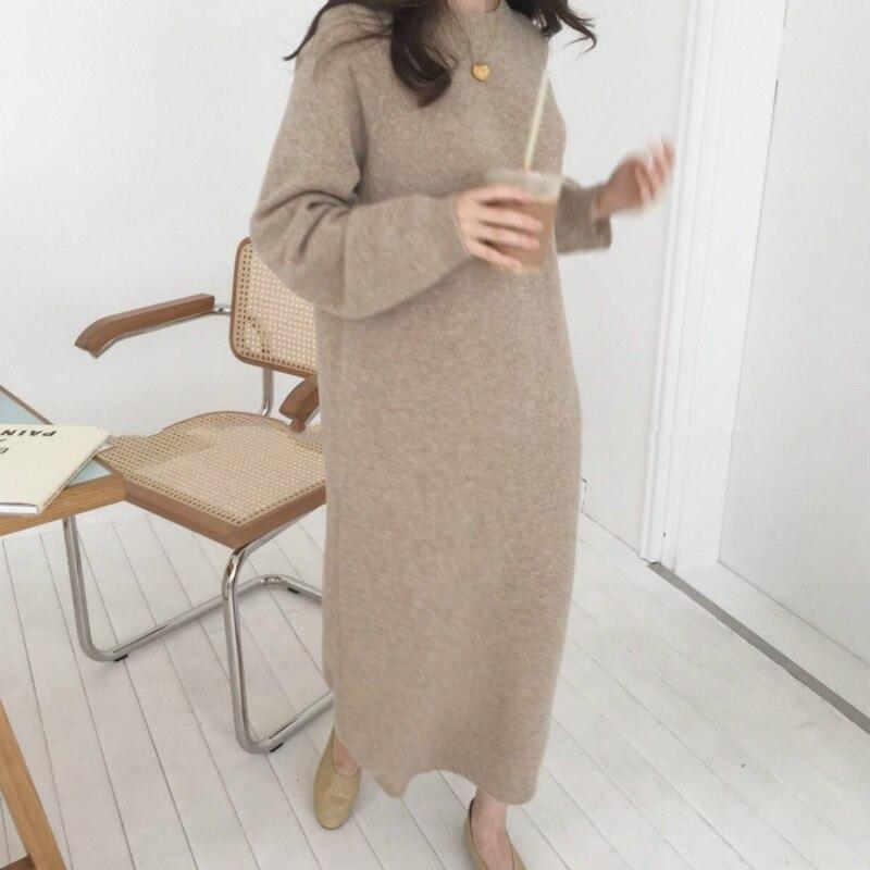Mulheres outono inverno longo camisola vestido feminino manga longa reta oversized vestidos de malha gola redonda aconchegante
