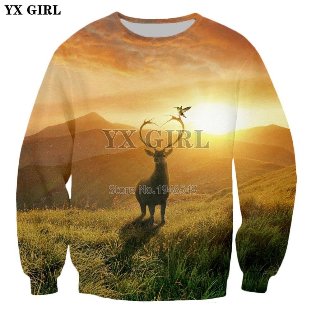 YX GIRL marca ropa 2018 nueva moda hombres manga larga jerseys fire deer fantasía art3d imprimir hombres mujeres Casual sudaderas