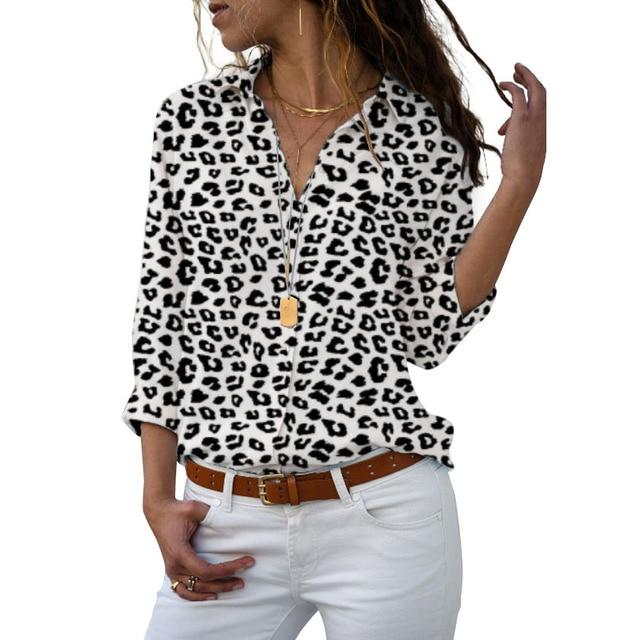 Long Sleeve Women Blouses 2020 Plus Size Turn-down Collar Blouse Shirt Casual Tops Elegant Work Wear Chiffon Shirts 5XL 6