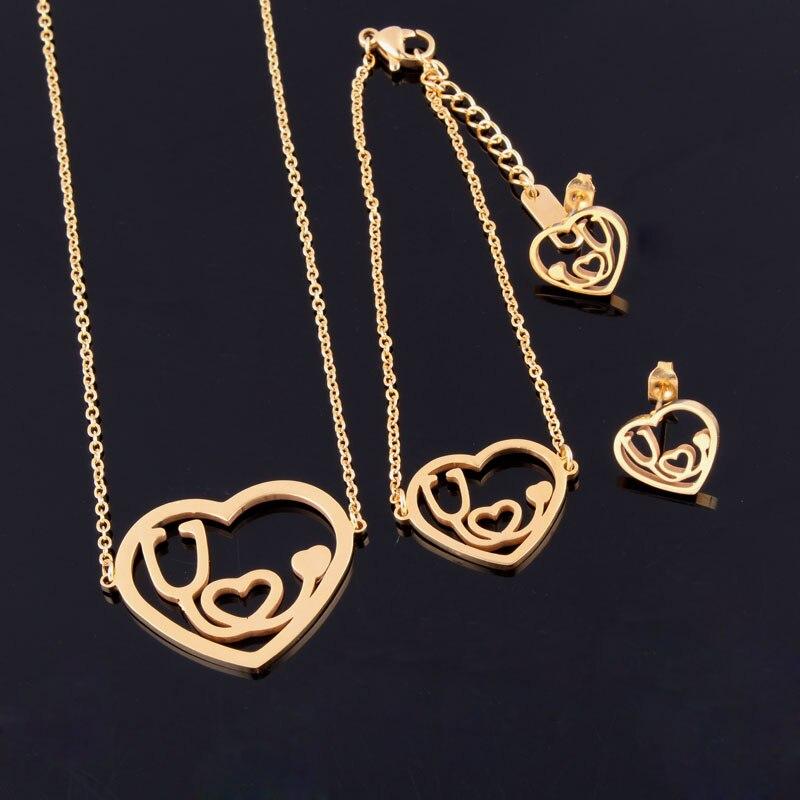 Новое розовое золото/серебро Цвет медсестры/доктор Косплей стетоскоп Сердце Любовь Шарм ожерелье, серьги, браслеты комплекты ювелирных украшений