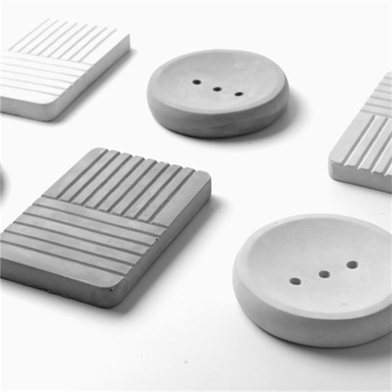 Home made zement seife tablett form kreative beton bad silikon seife box formen Einfache Industrielle Seife Dish Form