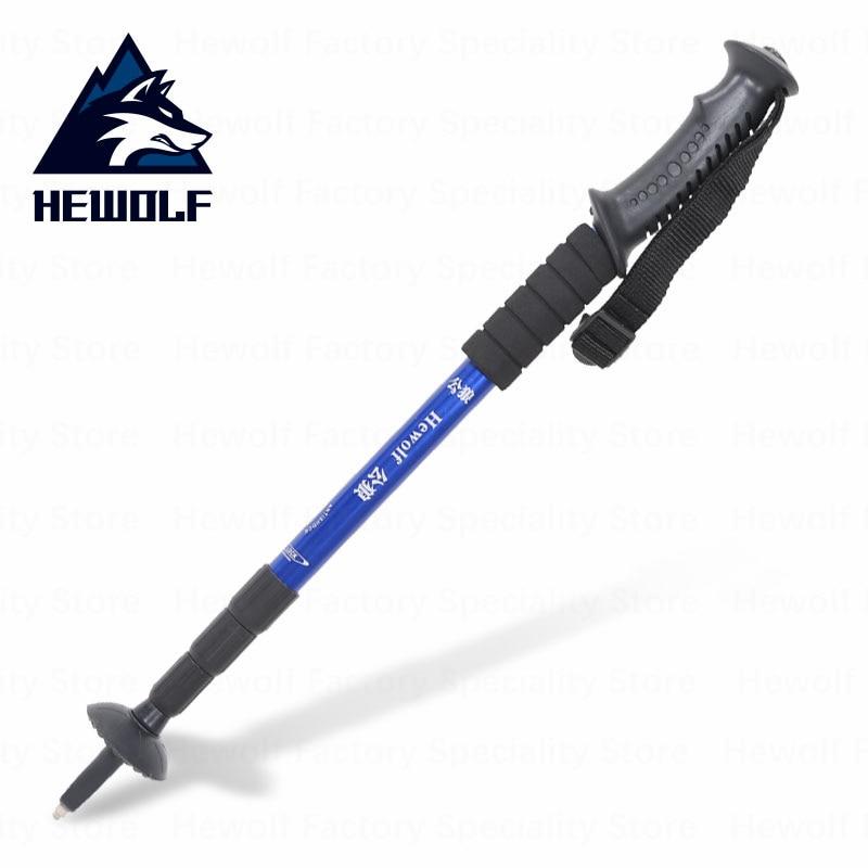Hewolf camping senderismo al aire libre palo telescópico caminar antideslizante a prueba de golpes a prueba manejar cómodo montañismo senderismo