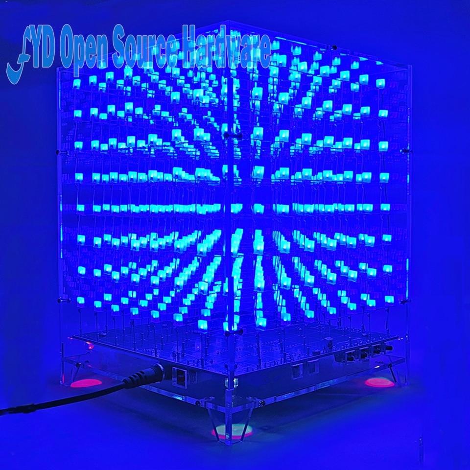 1set 8x8x8 3D LED LightSquared DIY Kit White LED Blue Ray 3mm LED Cube Electronic Suite 5V power supply