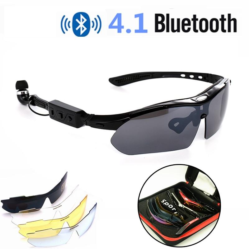 Gafas de ciclismo inalámbricas inteligentes Bluetooth 4,1 portátiles manos libres teléfono bicicleta UV400 gafas de sol polarizadas reemplazar lentes para Miopía