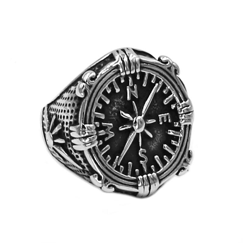Brújula anillo de navegación 316L Acero inoxidable joyería moda timón brújula Motor motorista anillo hombres mujeres anillo al por mayor 786B