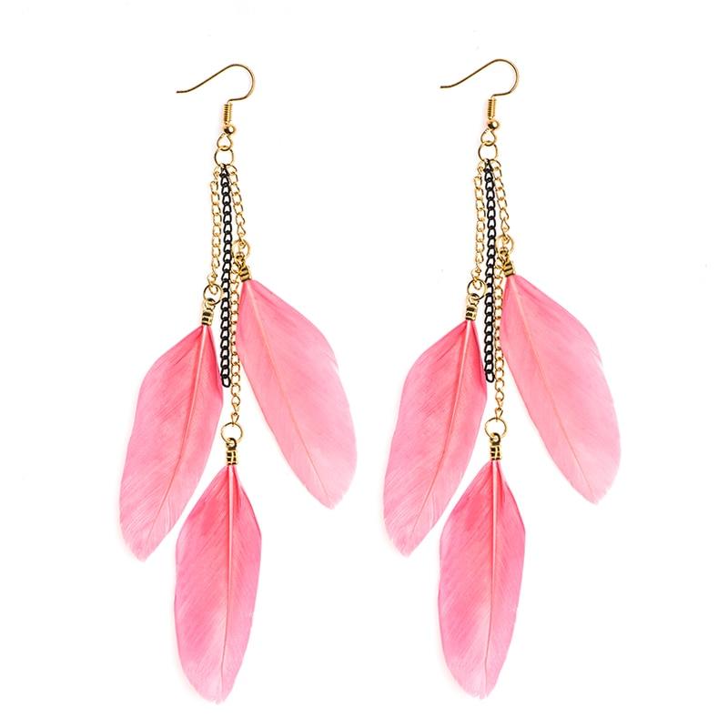 SHUANGR Fashion Long Tassel  Feather Drop Earring Style 19 Color Ethnic Boho Big Dangle Earrings For Women Statement Jewelry