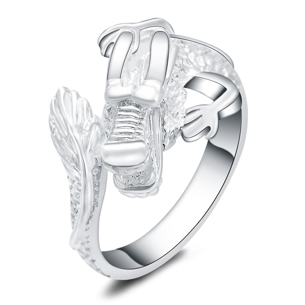 Красивое женское и мужское серебряное кольцо с драконом, популярное милое красивое модное свадебное серебряное ювелирное изделие с штамповкой, R054