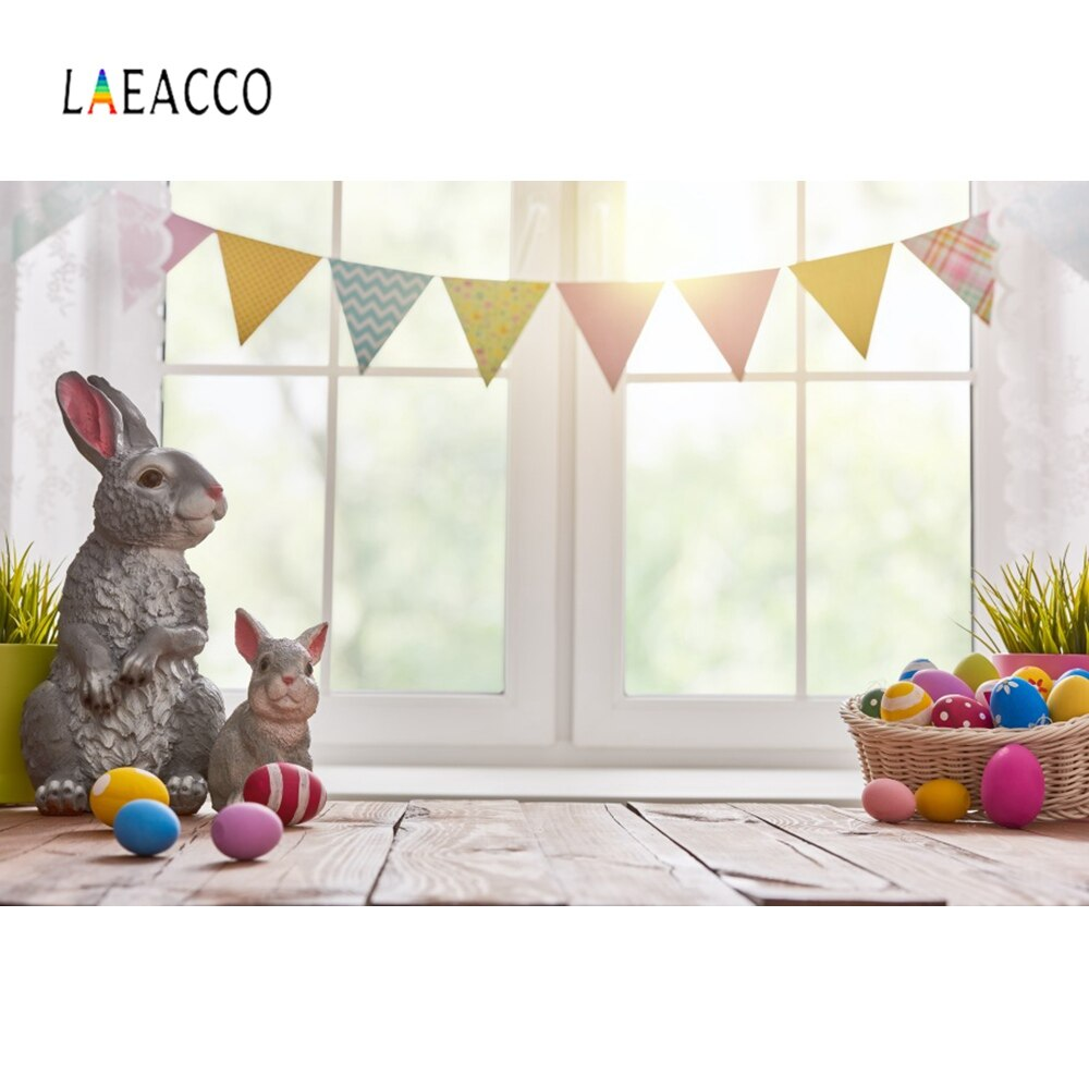 Laeacco oeufs de pâques arrière-plans lapin lapin gris fenêtre rebord drapeau fête bébé Portrait Photo décors pour Studio Photo
