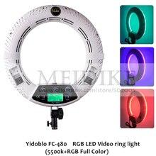 Yidoblo FC-480 dostosuj moda pierścień LED RGB światła 480 wideo LED lampa do makijażu fotografia Studio transmisji światła + 2 M stojak + torba