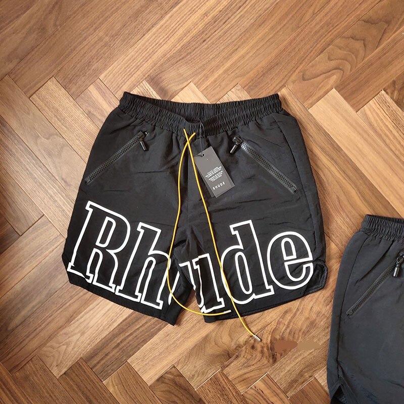 RHUDE Rh Logo Swim Trunk 2019 New Arrival Men Loose RHUDE Print Shorts Self Nylon LINING Polyester Mesh Drawstring Zipper Short недорого