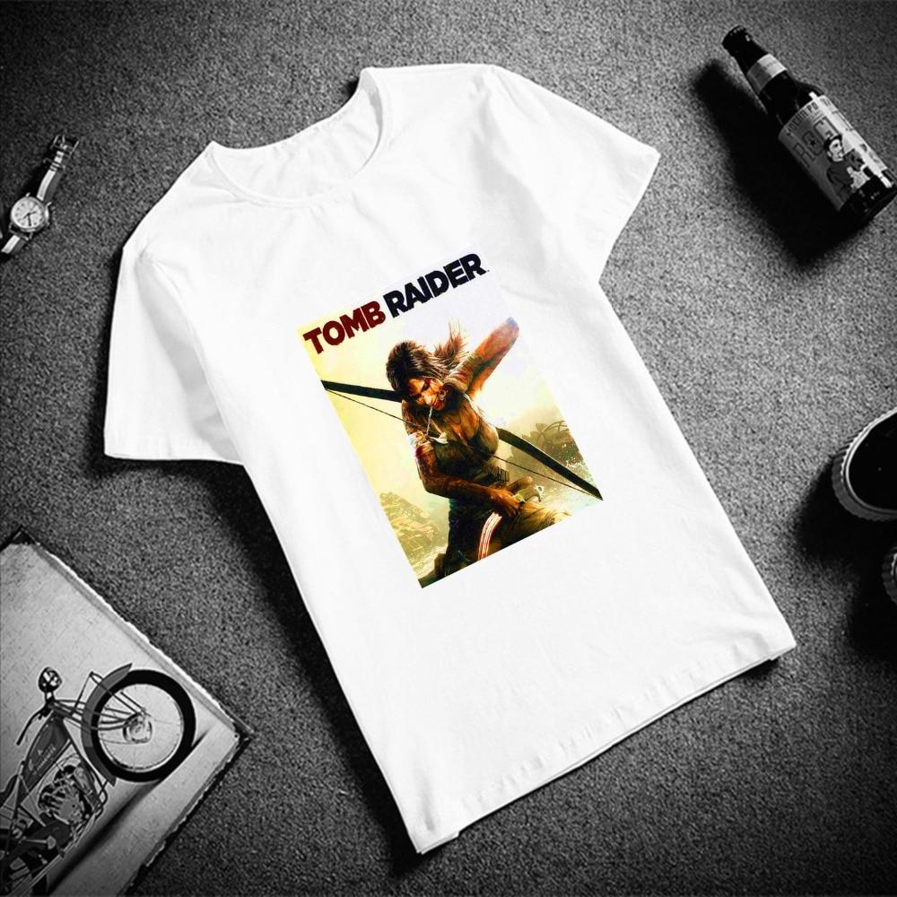 Skipoem divertida camiseta hombres subida de la tumba Raider juego cuello redondo Camiseta de talla grande manga corta marca hombres camiseta pareja Tops