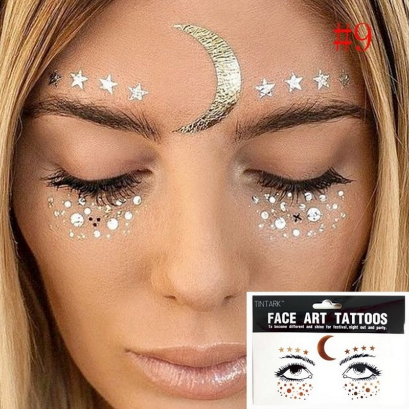 1 חבילת צבעים קעקוע מדבקה בלינג בלינג תכשיטי פנים עיני כוכבים ירח נמש יופי איפור מדבקת גוף אמנות צבע זמני קעקוע