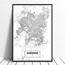 Santiago Chile Black White Custom World City Map Poster Canvas Print Nordic Style Wall Art Home Decor