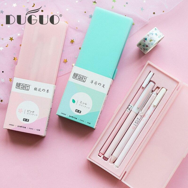 DUGUO cute stationery 0.5mm charcoal black gel pen student with full needle press dynamic pen cherry blossom pen set 5 sticks