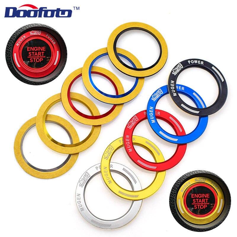 Doofato Auto botón de arranque de motor clave calcomanía de anillos logotipo del coche pegatina accesorio cubierta para Honda Mugen para Estilismo para automóvil Civic 2019
