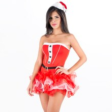 Mode Noël Robes Femmes Vêtements Sexy Père Noël Halloween Cosplay Bustier Rouge Tutu Robe 2 pièces De Noël Costume avec Chapeau