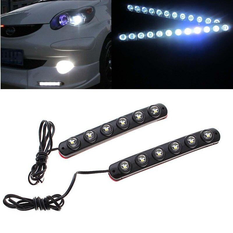 2 x Car White 5050 6LED Daytime Running Light DRL Fog Lamp Car Driving Day Lights