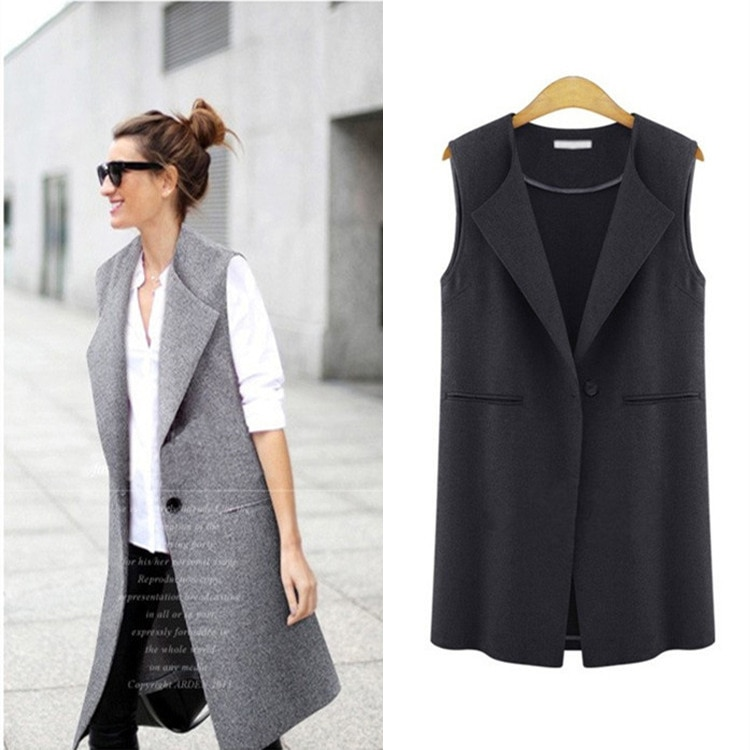 Plus Size Outerwear Brief Womens Vests Female Spring Waistcoat Turn-Down Collar Vest Casual Cardigan Summer Sleeveless Coats