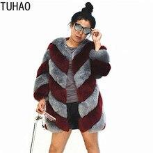 TUHAO  Faux Fur Coats Plus Size 3XL 2XL Women Clothes Winter Warm Thick Coat Female Striped Long Jacker Fur Coats SXFS