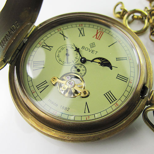 Viejo 100% antiguo doble cubierta Tourbillon, fases lunares para Reloj de bolsillo mecánico