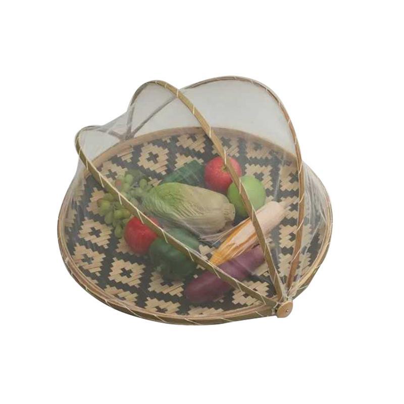 AIHOME, cesta redonda de bambú hecha a mano, cesta de almacenamiento antimosquitos a prueba de polvo, cesta de secado de malla, bandeja para frutas y verduras