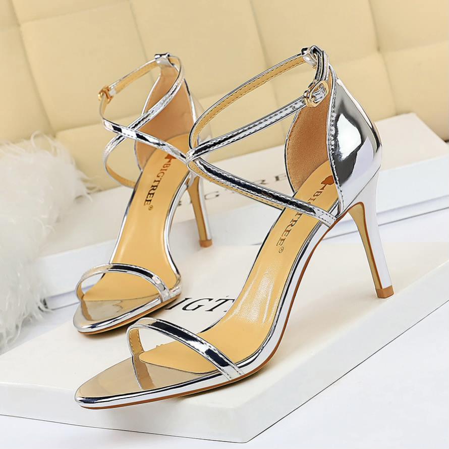 Eoeoodoit, sandalias doradas plateadas de cuero, Punta abierta, tacones de aguja altos, Punta abierta, para fiestas, oficina, zapato de tacón vestir, sandalias de mujer de 8 CM