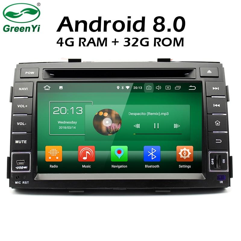 GreenYi 4G RAM Android 8.0 Car DVD For Kia Sorento 2011 2012 Octa Core 32G ROM Radio GPS Multimedia Player Head Unit