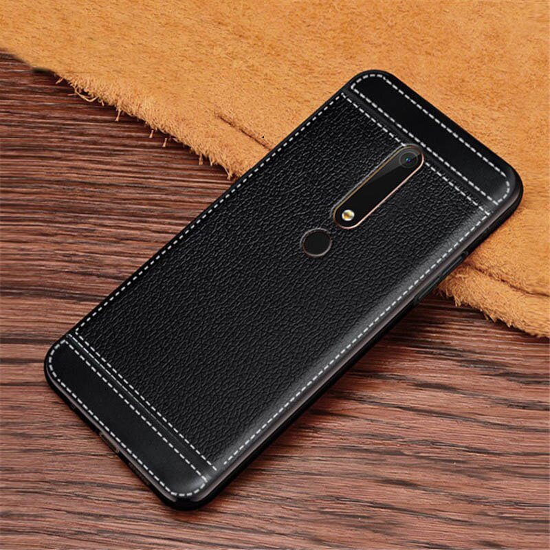 For Nokia 6 2017 TA-1033 TA-1003 Case Leather Textured Soft TPU Back Case For Nokia 6 6.1 2018 TA-1068 TA-1050 TA-1043 TA-1016