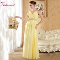 alexzendra yellow chiffon v neck beaded belt long prom dresses customize formal evening dresses special party gowns