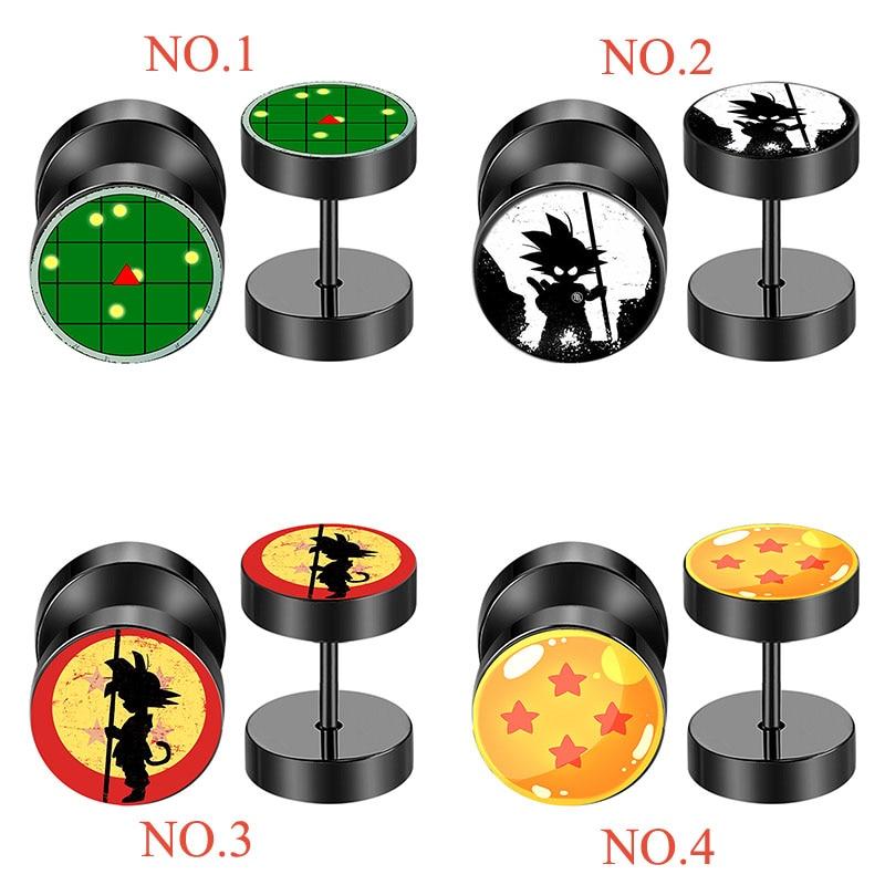 Lote de 8 unidades de bolas de dragón de acero inoxidable negro, falsos tapones para túnel del oído, Piercing para barra, pendiente Unisex