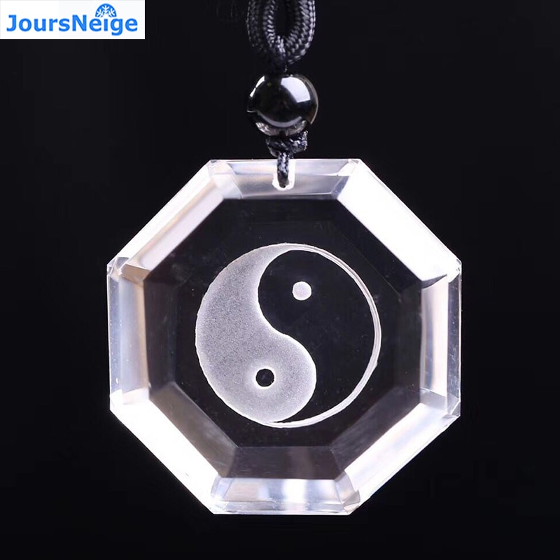Venta al por mayor de colgante de cristal Natural blanco tallado fino Yin y Yang Taiji cotilla colgante collar de la suerte para las mujeres hombres regalo joyería
