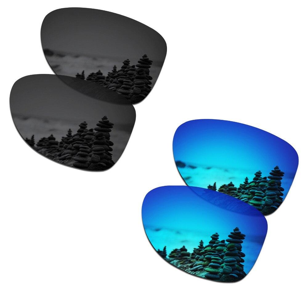 Smartvlt 2 pares polarizados óculos de sol lentes de substituição para oakley dispatch 2 discrição preto e azul gelo