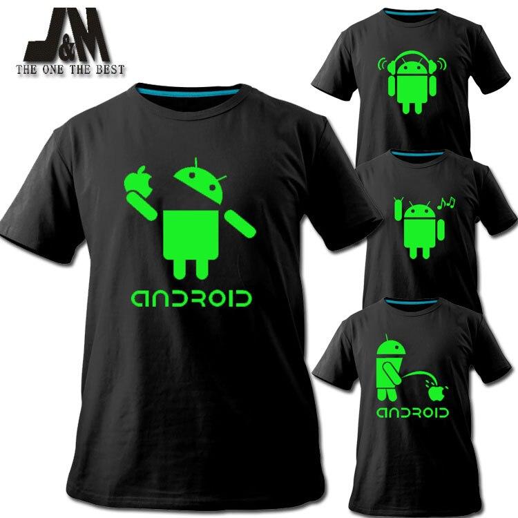 2016 camiseta de hombre con logotipo de Android, promoción de ventas, camiseta luminosa, camiseta de moda, diseños de marca, camiseta divertida para parejas