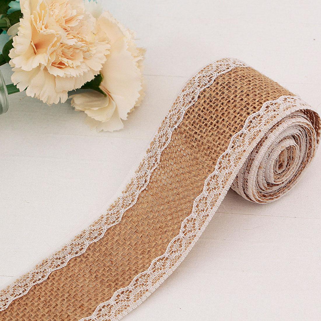 Burlap Ribbon 2M  Vintage Wedding Decoration Sisal Lace Trim Jute Burlap Rolls Rustic Event Party Decor Supplies