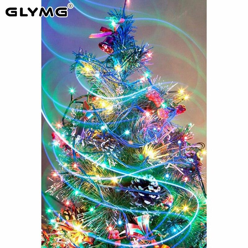 GLymg Diy Diamante Cor Da Pintura pintura Diamante Bordado Ponto Cruz Completa Praça Pintura da árvore de Natal Com Diamantes Decoração