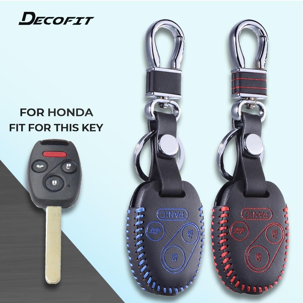Cubierta de cuero superior para Honda Civic Accord CRV Fit Pilot Ridgeline Insight Odyssey Key 4 estuche para botones llavero