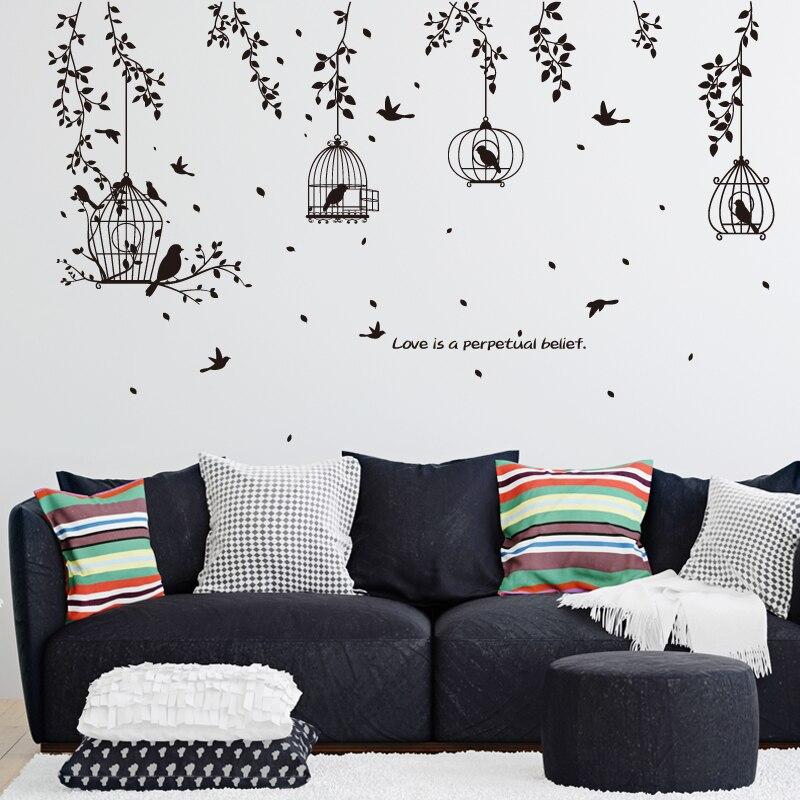 Pegatinas de pared 3d con diseño de flores y pájaros en forma de rama con diseño de hojas y jaula de pájaros en color negro