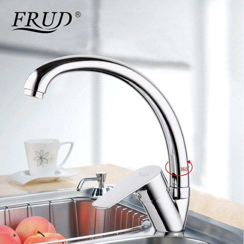Frud nuevo plata de alta calidad grifo mezclador de agua cocina fregadero grifo torneira 360 cocina fregadero mezclador agua grifos cocina mezclador r41105